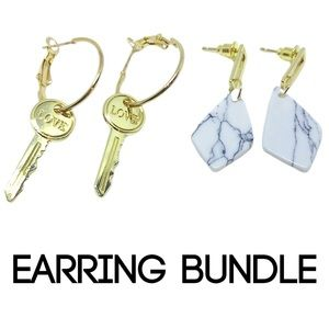 Earrings Bundle marble patterned & key love gold